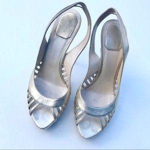 Christian Dior Slingback Metallic Heels